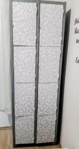 O armário foi reformado e reutilizado no mesmo ambiente.