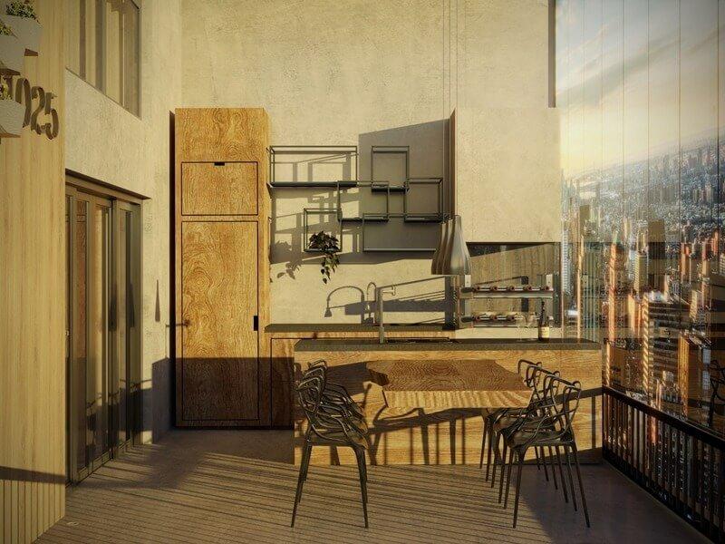 Varanda gourmet em Loft Moderno