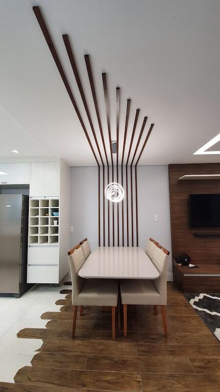 ripadinho de madeira sala de jantar casa santana