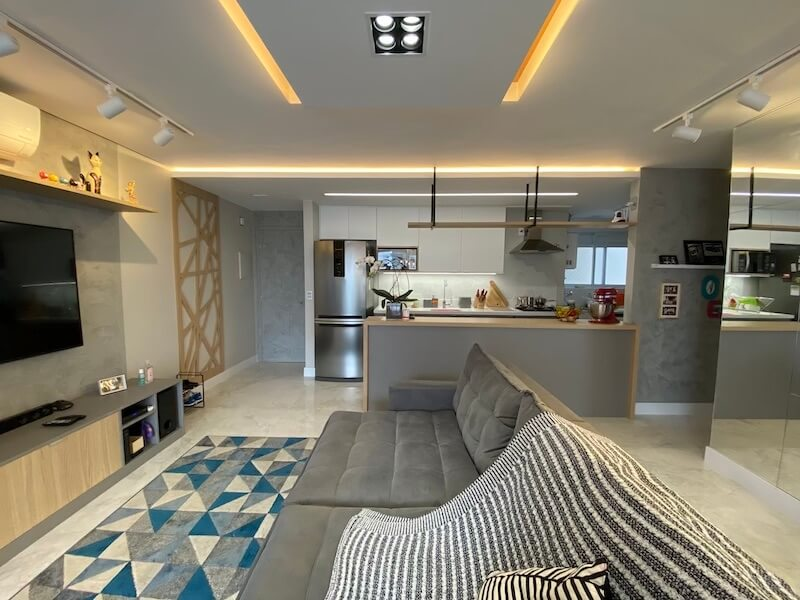 sala cinza decorada apartamento