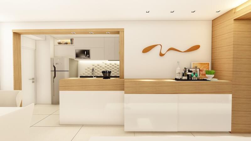 sala com buffet e escultura apartamento carrão