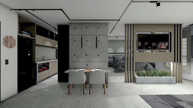 sala de jantar e cozinha apartamento max haus