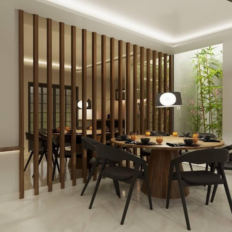 sala de jantar madeira e espelho casa santana
