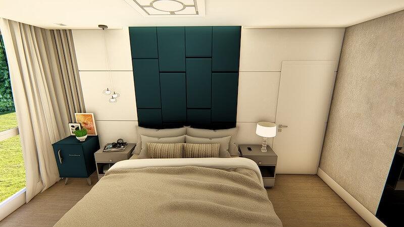 suite decorada com conceito aberto